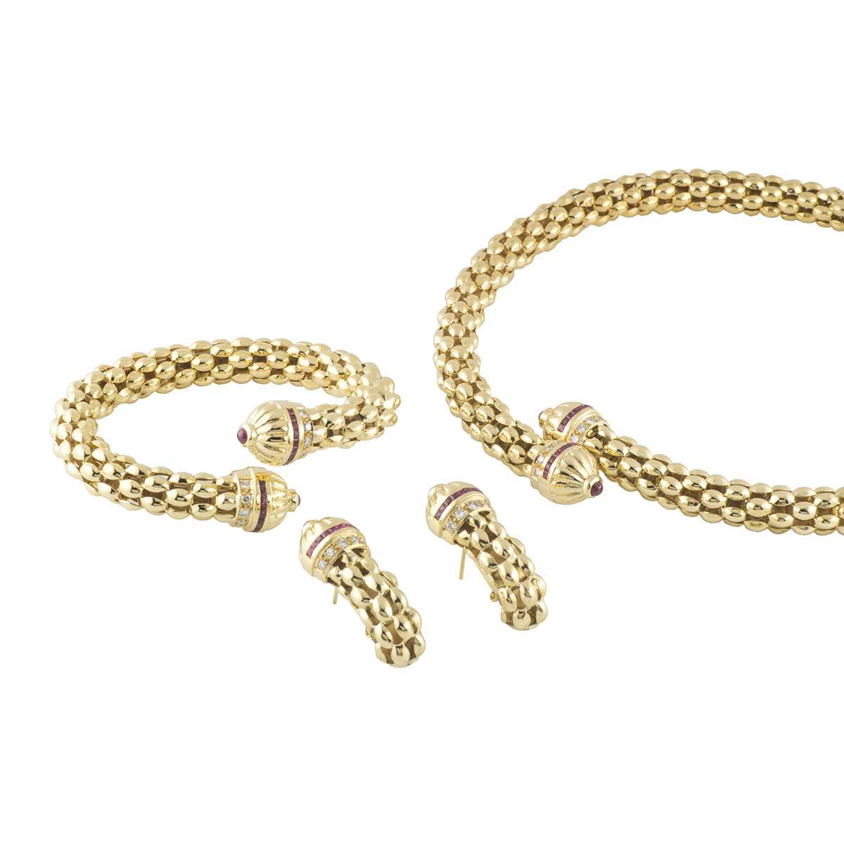 Yellow Gold Diamond and Ruby Jewellery Suite